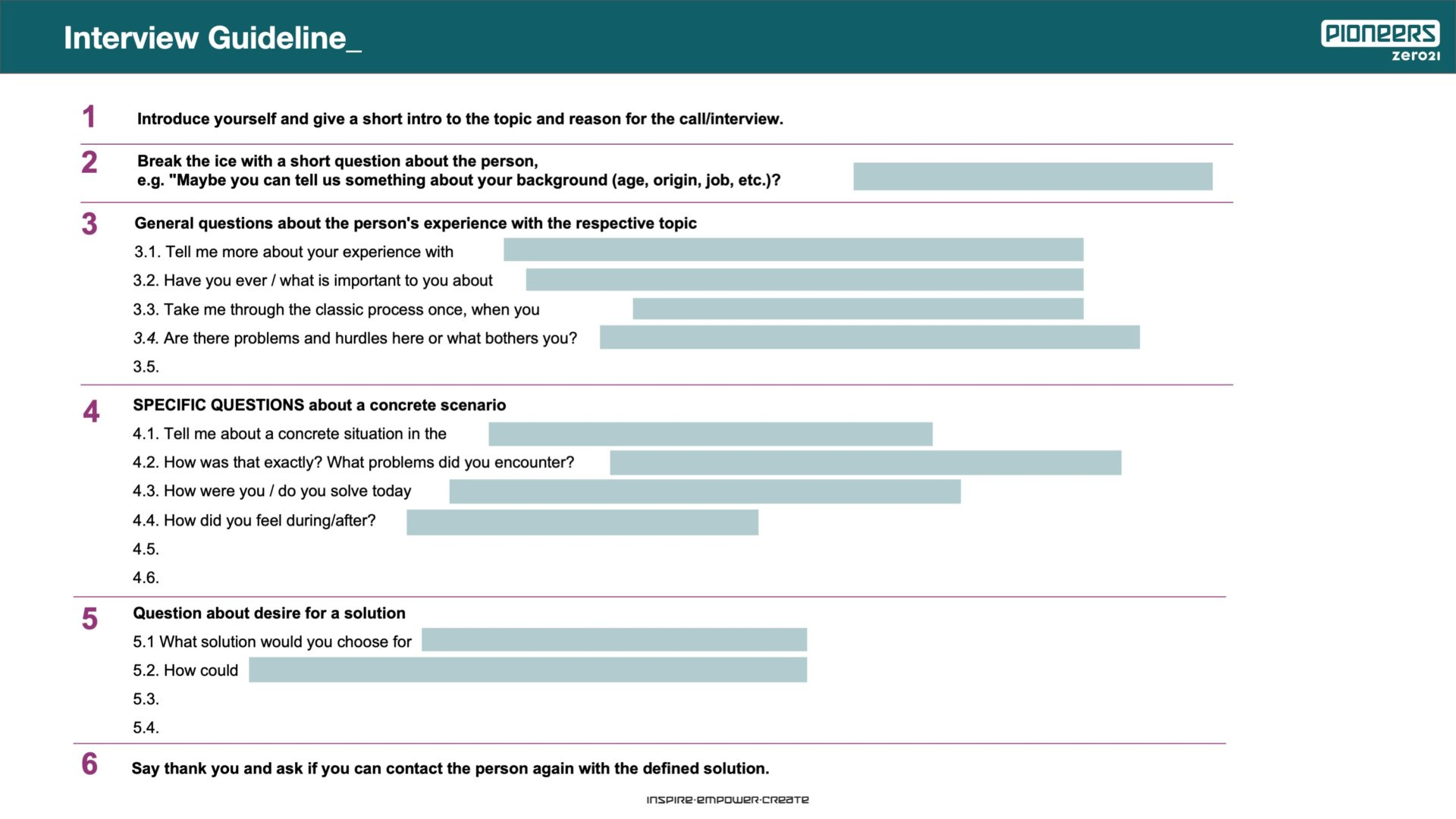 Interview Guideline Canvas